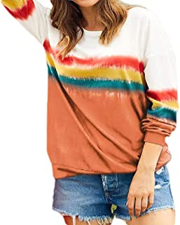 S-Fly Womens Long Sleeve Top Round Neck Rainbow Striped Print Blouse T Shirts