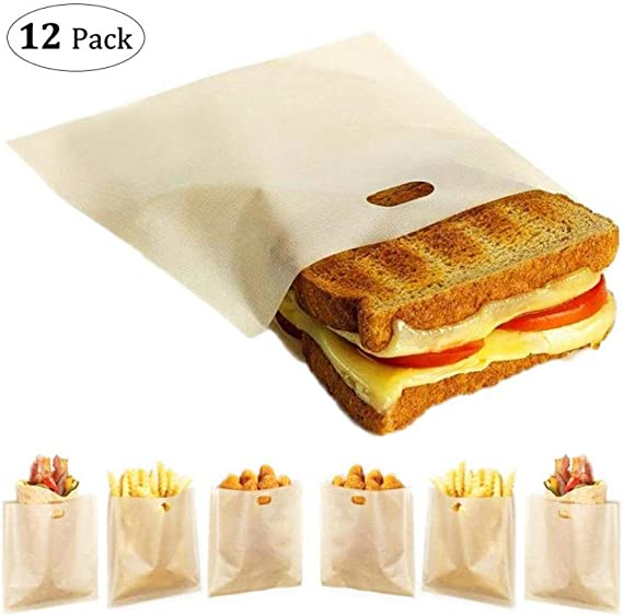 12 Pack Toaster Bags Reusable - Yokgrass 3 Sizes Nonstick Toast Bags for Heat Resistant - FDA Approved