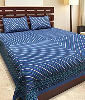 JAIPUR PRINTS Cotton Comfort Rajasthani Jaipuri Traditional Double Bed Bedsheet with 2 Pillow Covers (King Size, Multi)