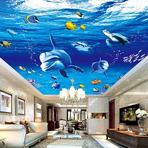 Sucsaistat Unterwasserwelt Blau Deep Ocean Cartoon Shark Fototapete Wohnzimmer Schlafzimmer Decke Wanddekor Vlies Benutzerdefinierte 3D Wallpaper,250 * 175Cm