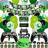 Juego de accesorios para fiesta de cumpleaños con temática de Miner Gamer, decoración para fiestas de cumpleaños, globos con inserciones de pixeles para decoración de cumpleaños o gaming