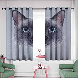 Window Length Grommet Curtains Animal Portrait Image of Thai Siamese Cat with Retro Style Lettering Artwork W63 Xl42 White Sky Blue and Grey