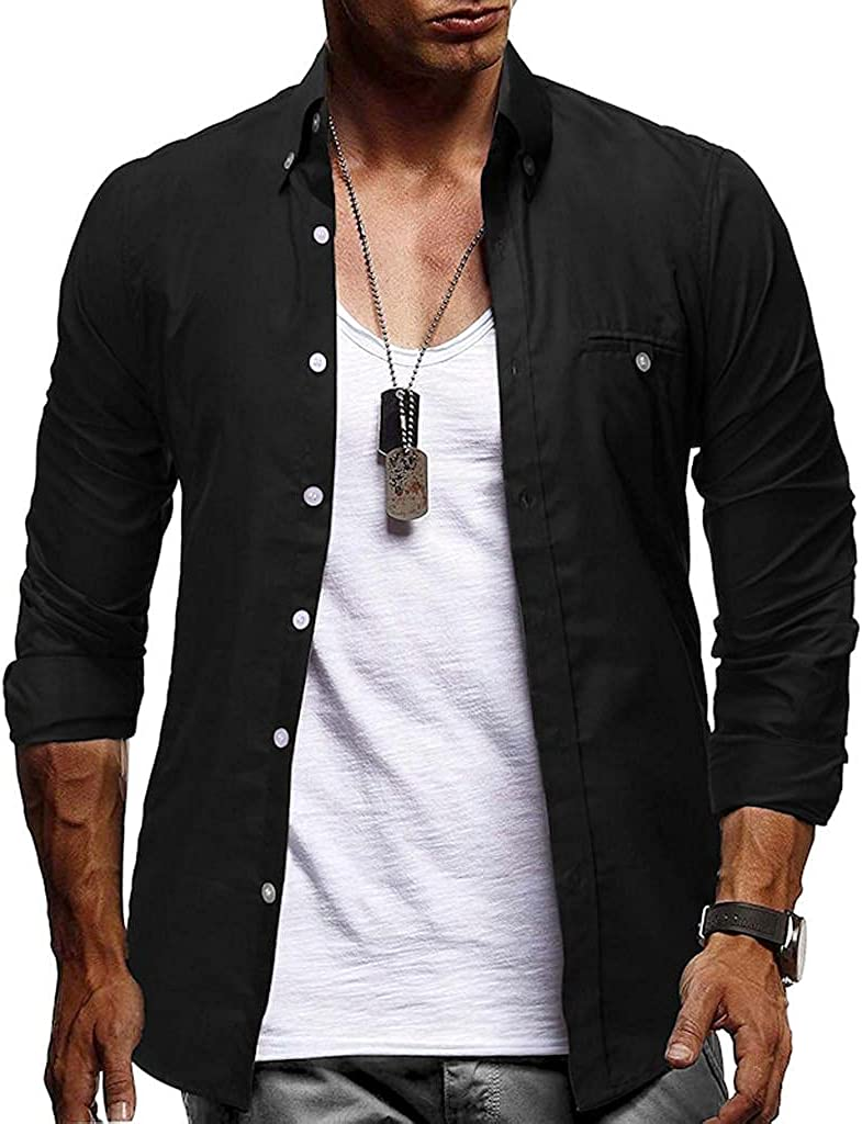 WoCoo Casual Shirts for Men Slim Fit Button Down Tops Classic Regular-fit Business Workout Tees Blouse