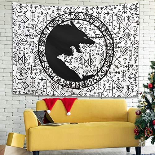Bannihorse Vikingerwolf - Toalla de pared para colgar en la pared (150 x 150 cm), diseño hippie, color blanco