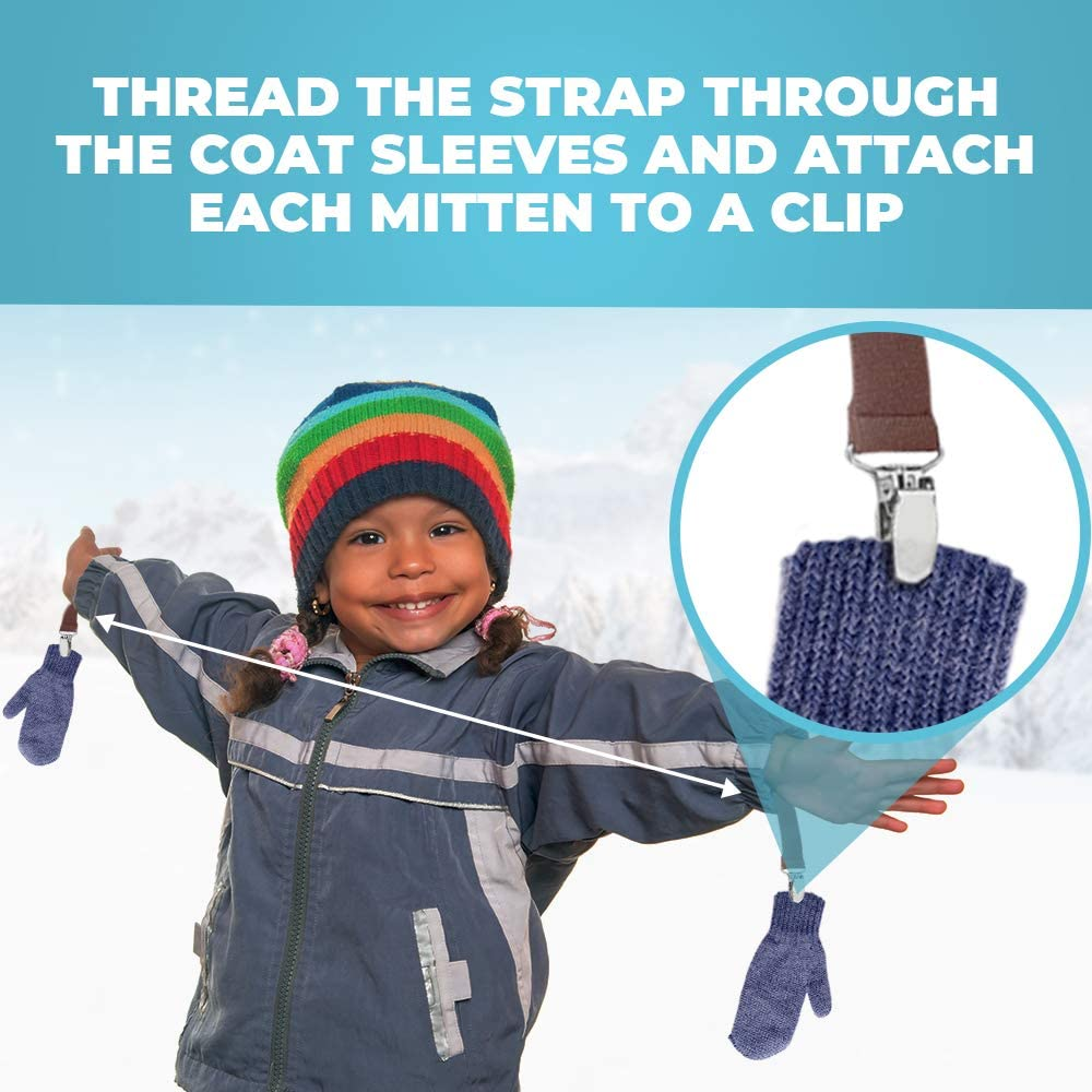 Hold'Em One Piece Mitten/Glove Clips for Kids/Toddler –Fully Adjustable