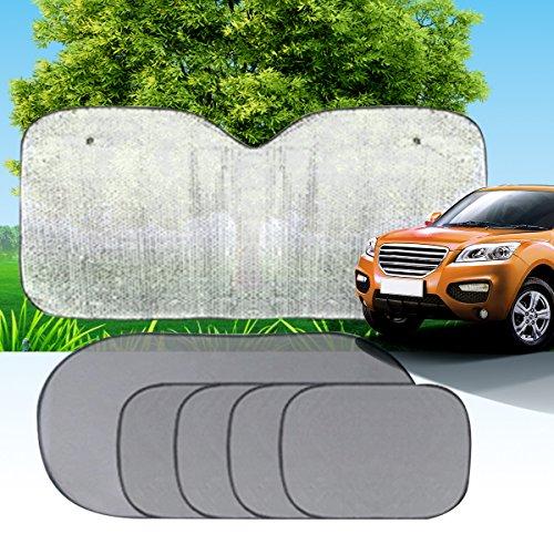 XFAY Pare-Soleil Fenêtre de Voiture Auto Bébé Enfant - Refletant Rayon et Absorbant Les Rayons Utraviolets - Grille Noir Semitransparent + Tissu Papier Aluminum - 6 Pièces Kit