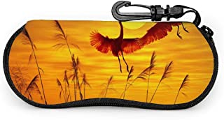 Soft Sunglasses Case With Carabiner Keychain, Flamingo Ultra Light Portable Neoprene Zipper Eyeglass Bag