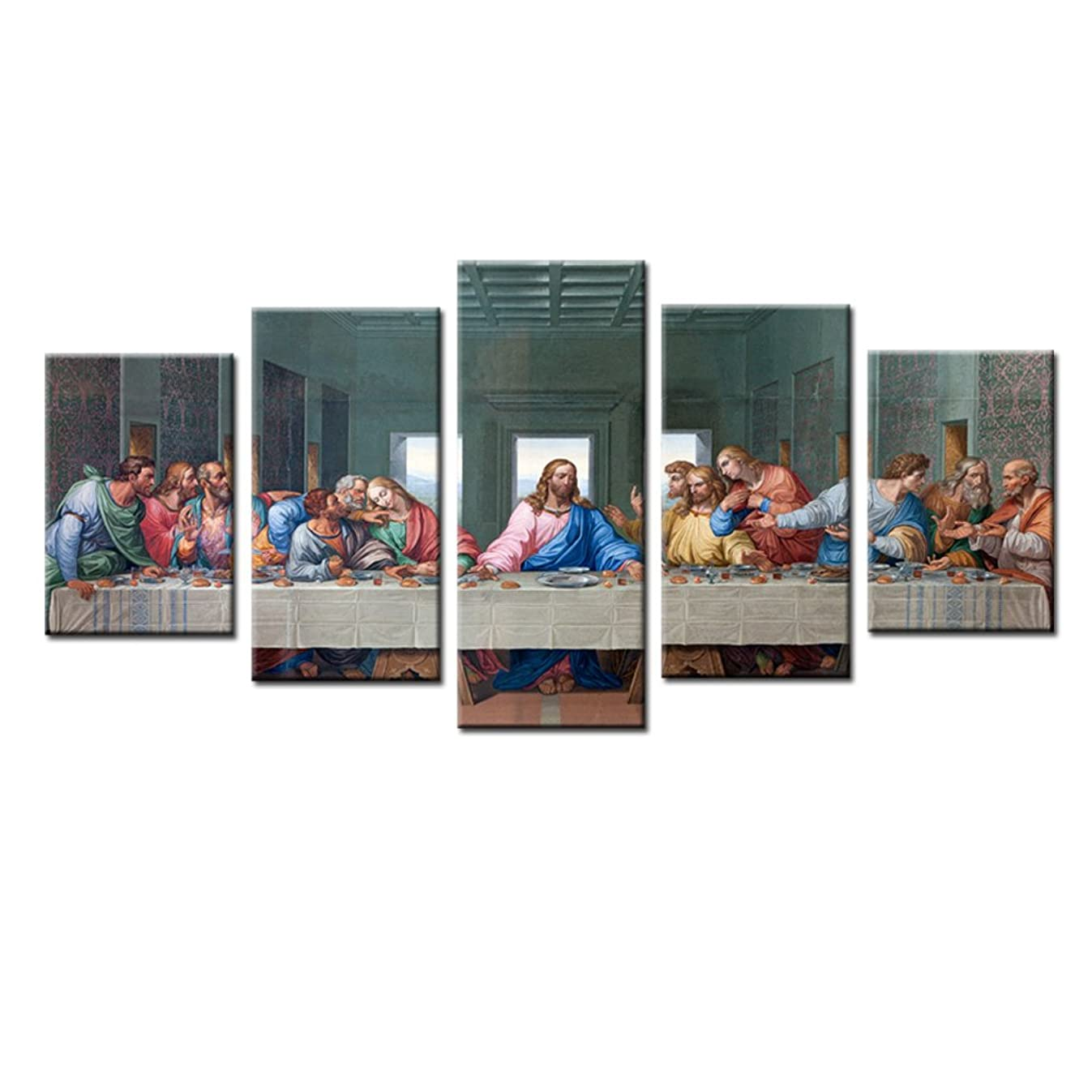 Jingtao Art 1 Jesus The Last Supper Wall Art Painting Canvas Prints Home Decoration in 5 Pieces,Stretched-Ready to Hang (8x12inchx2+8x16inchx2+8x20inch) White