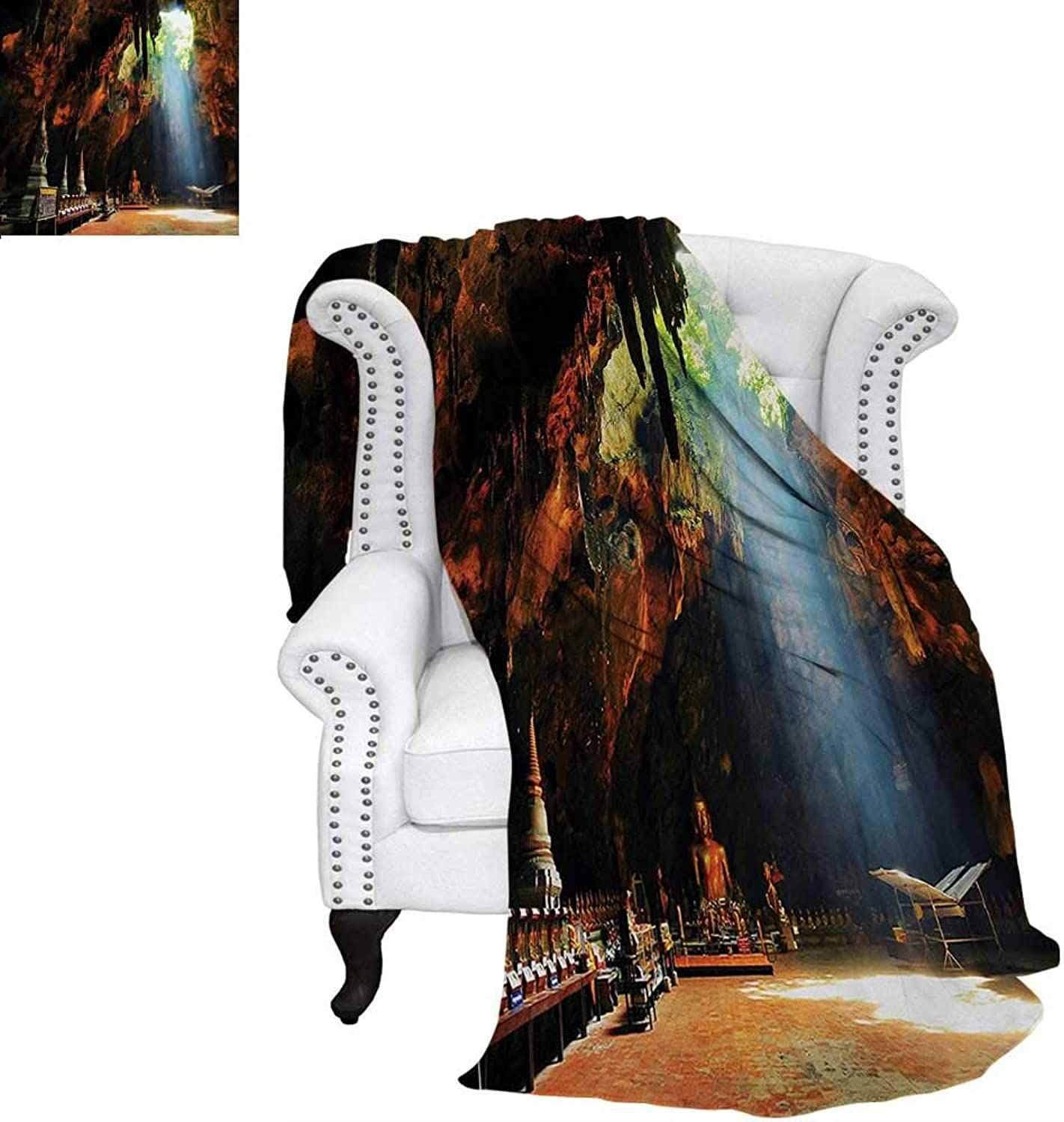 Warmfamily Natural Cave Summer Quilt Comforter Sunbeam in Religious Cave Temple Tham Khao Luang Near Phetchaburi Thailand Digital Printing Blanket 60 x50  Multicolor