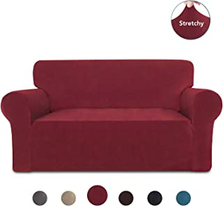 PureFit Stretch Loveseat Sofa Slipcover – Spandex VelvetNon-Slip Soft Couch Sofa Cover, Washable Furniture Protector with Non-Skid Foam and Elastic Bottom for Kids (Loveseat, Wine)