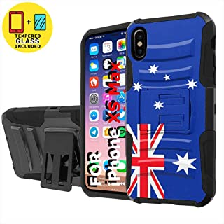 TalkingCase Black Dual Layer Phone Case for Apple iPhone Xs MAX,Flag Australia Print,Kickstand,Belt Clip Holster,Tempered Glass Protector Included,Designed in USA
