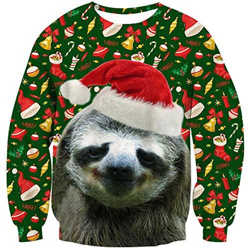 Loveternal Faultier Weihnachtspullover Damen 3D Druck Hässliche Christmas Sweater Langarm Ugly Xmas Pullover Sloth Jumper L