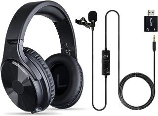 Movo Auriculares de estudio con micrófono para ordenador - Micrófono USB Lavalier para PS5, consola Xbox Series X - Auriculares de diadema con cable para 3,5 mm, 6,35 mm - Auriculares de juego con micrófono para portátil