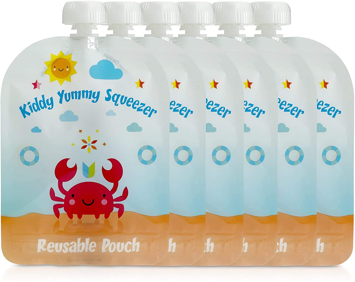 Reusable Food Pouch - Refillable Squeeze Pouches Kids of All Ages Love, Pack of 6 Large Pouches