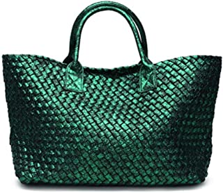 YXWL Snakeskin Hand-Woven Women's Bag 2019 Summer New European and American Tide Shoulder Shopping Basket Ladies Casual Bag (Color : Green)