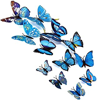 iDream 3D PVC Magnet Butterflies DIY Wall Sticker Home Decoration (Blue) 12 Pieces