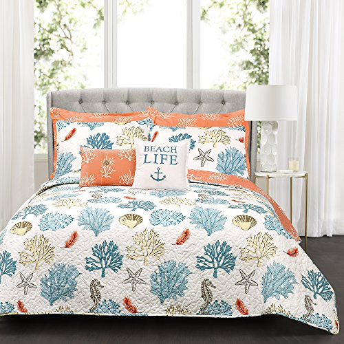 Lush Decor 7 Piece Coastal Reef Feather Quilt