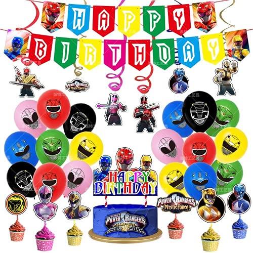 56 piezas Power Ranger decoraciones de cumpleaños Banner Cake Topper Ballons Power Ranger colgantes Swirl Party Suministros (ranger 62pcs, SC-PT-020)