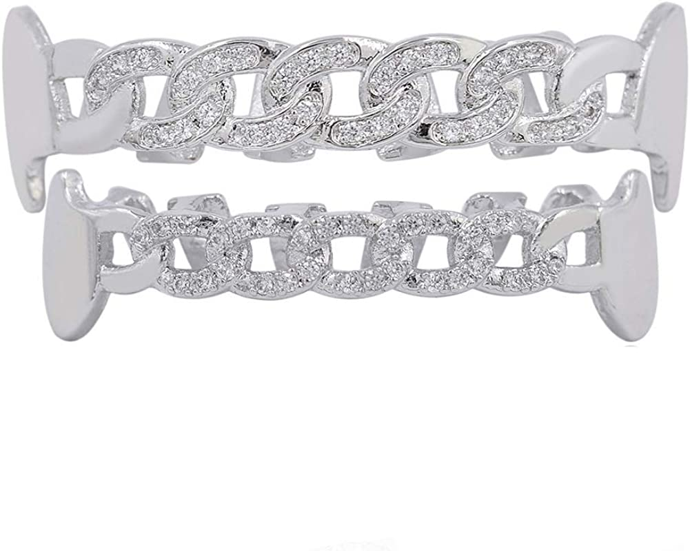 JAJAFOOK 18K Gold Plated Grillz CZ Iced Out Teeth Top & Bottom Set Micropave Lab Simulated Diamonds, Cuban Chain Style