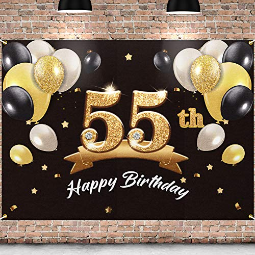 PAKBOOM Happy 55th Birthday Banner Backdrop - 55 Birthday Party Decorations Supplies for Men - Black Gold 4 x 6ft