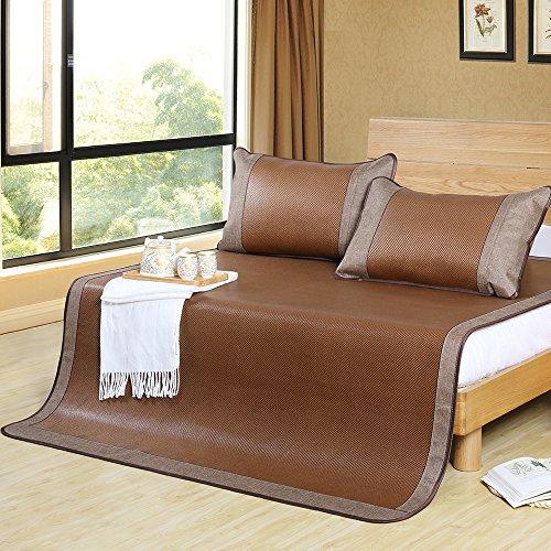 Aimjerry 3pcs Rattan Mattress Topper Pad Cooling Summer Sleeping Mat and Pillow Shams Sets (King, Brown 1)