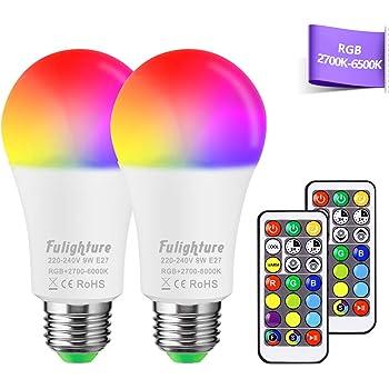 Bombilla LED Colores (2 Pack), Blancas Cálidas& Frías & RGB, E27 9W con Control Remoto, Función de Temporización y Memoria, Luz Ambiente Regulable para Hogar, Decoración, Bar, Fiesta, KTV: Amazon.es: Iluminación