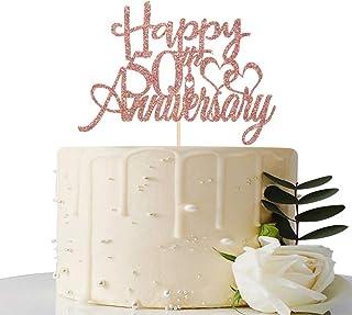 Maicaiffe Rose Gold Glitter Happy 50th Anniversary Cake Topper - for 50th Wedding Anniversary / 50th Anniversary / 50th Bi...