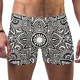 FHJRTHYE5TYG Hombres Negro Blanco Flor Mandala Trajes De Baño Traje De Baño Shorts Atletismo Bóxer Briefs Boardshorts, multicolor, M
