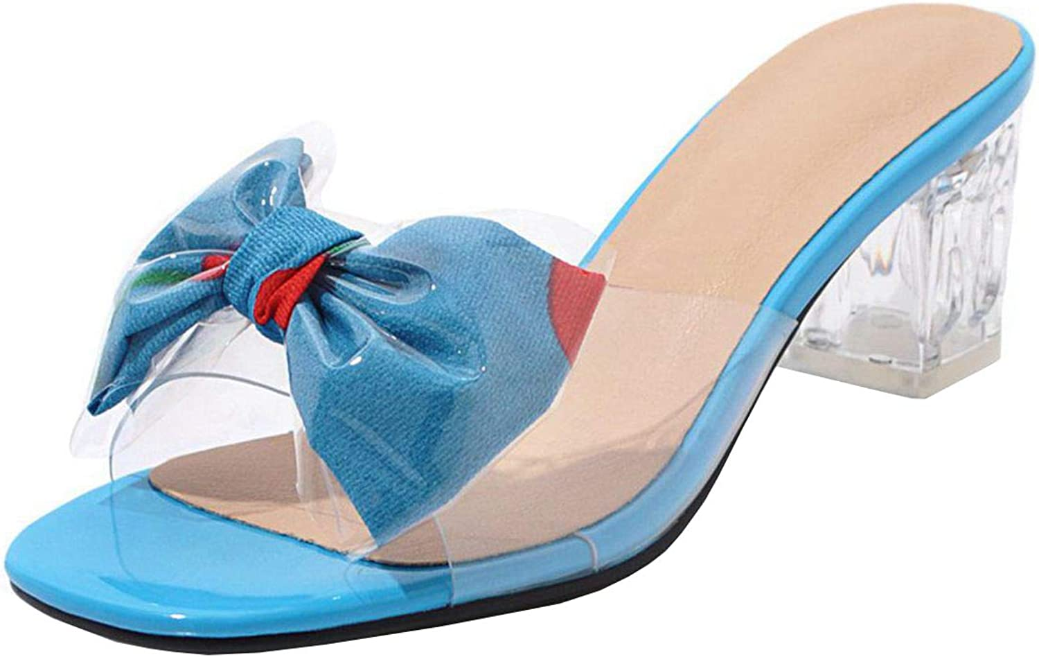 Vitalo Womens Block Heel Clear Mules Peep Toe Transparent Sandals with Bow