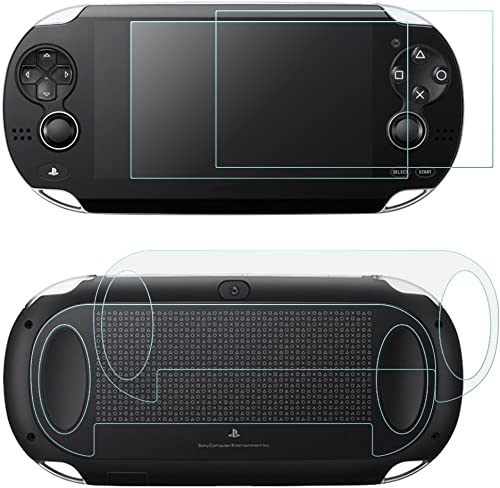 Screen Protectors Compatible Sony PlayStation Vita 1000 & Back Covers, AFUNTA 2 Pack (4 Pcs) Tempered Glass for Front...