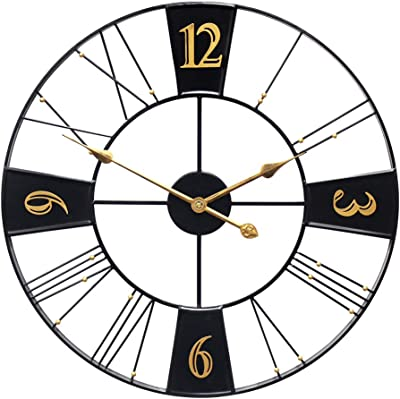 IPOUF Large Wall Clock, 24inch Silent Modern Home Decor Ideal for Living Room, Farmhouse,Pure Metal Retro Clock