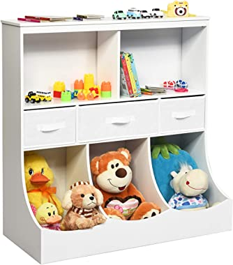 Costzon 3-Tier Kids Bookcase Toddler Storage Organizer Cabinet Shelf w/ 8 Compartment Box and 3 Removable Drawers for Childre