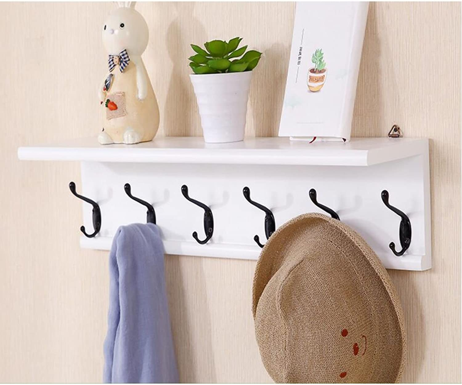 CJC Coat Rack Solid Wood Wall Hanging Decoration Storage Rack 6 Hooks Living Room Furniture Home Kitchen Hallway Multifunction