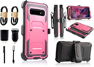 6goodeals Compatible with Galaxy S10 Plus Case Military Grade Drop Tested with Built in Kickstand Holster [Value Bundle] (Pink)