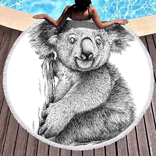 O2ECH-8 Koala microvezel lichte badhanddoek mat - sneldrogend strandhanddoeken 59 inch voor zwembad