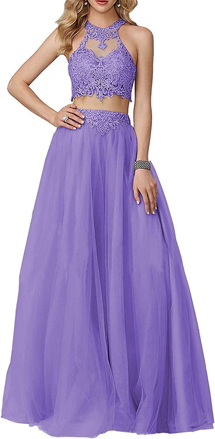 JQLD Women's Sexy Two Piece High Neck Lace Applique Tulle Prom Dresses Off The Shoulder Evening Gowns
