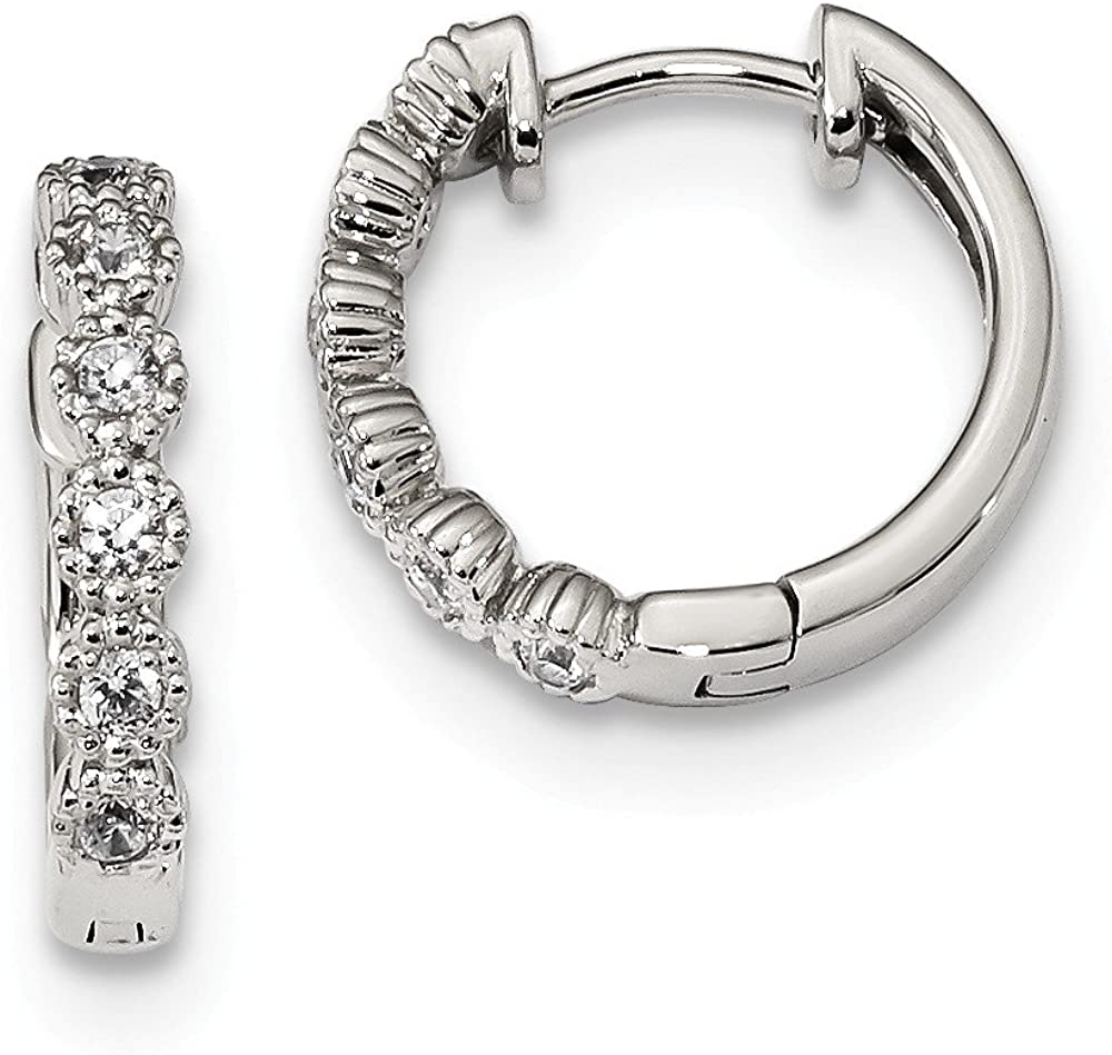 FB Jewels Overseas parallel import regular item Solid Inexpensive 925 Sterling Silver Hinged Cubic Zirconia Hoo CZ