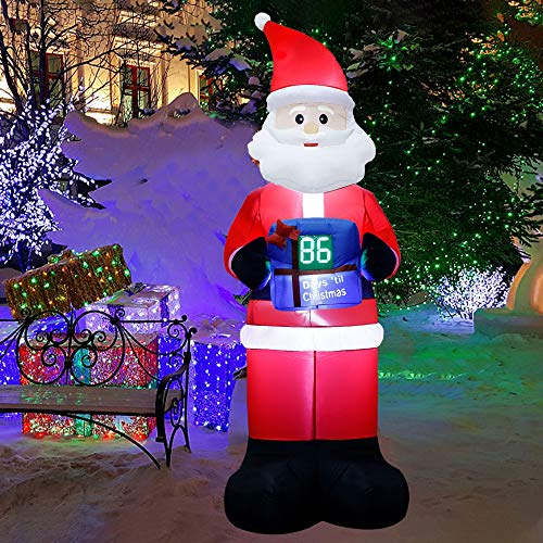 Lulu Home Christmas Inflatable Decoration, 8 FT Blow Up Santa with LED Countdown Clock, Advent Calendar Count Down to Christmas, Christmas Inflatable Santa Decorations Outdoor Indoor