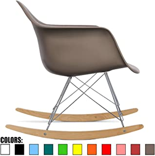 2xhome Taupe Gray Mid Century Modern Molded Shell Designer Plastic Rocking Chair Chairs Armchair Arm Chair Patio Lounge Garden Nursery Living Room Rocker Replica Decor Furniture DSW Chrome
