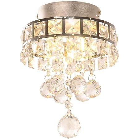 DAXGD Lustre en cristal, Mini lampe suspension avec 3 lumières pour couloir, chambre à coucher, cuisine, chambre d'enfant (3 Ampoules incluses)