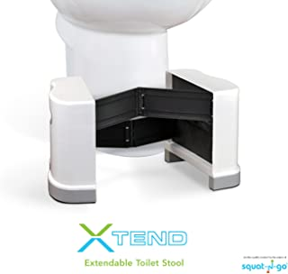 "Squat N Go Extendable Toilet Stool | The Only Extendable Squatting Stool | Convenient and Compact | Fits All Toilets, 7"" and 8"" Heights, Use in Any Bathroom (White)"