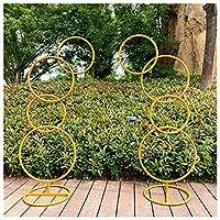 リングアイアンウェディングアーチ小道具背景装飾、サークルアーチフレームフラワー屋外芝生ウェディングフラワードアロードリーディングバースデーパーティーバルーンデコレーション