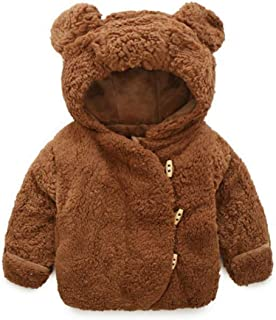 QIANMEI Toddler Baby Boys Girls Fur Hoodie Winter Warm Coat Jacket Cute Bear Shape Thick Clothes