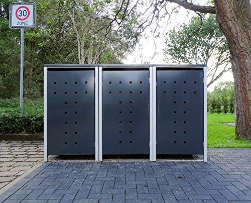 3 Mülltonnenboxen Modell No.7 Anthrazitgrau für 120 Liter Mülltonnen / witterungsbeständig durch Pulverbeschichtung / mit Klappdeckel und Fronttür