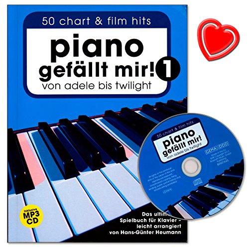 Piano gefällt mir - Band 1 - Songbook für Klavier von Hans-Günter Heumann - umfangreiche, moderne Klavier-Spielbuch mit CD und bunter herzförmiger Notenklammer - Bosworth BOE7645 9783865437426