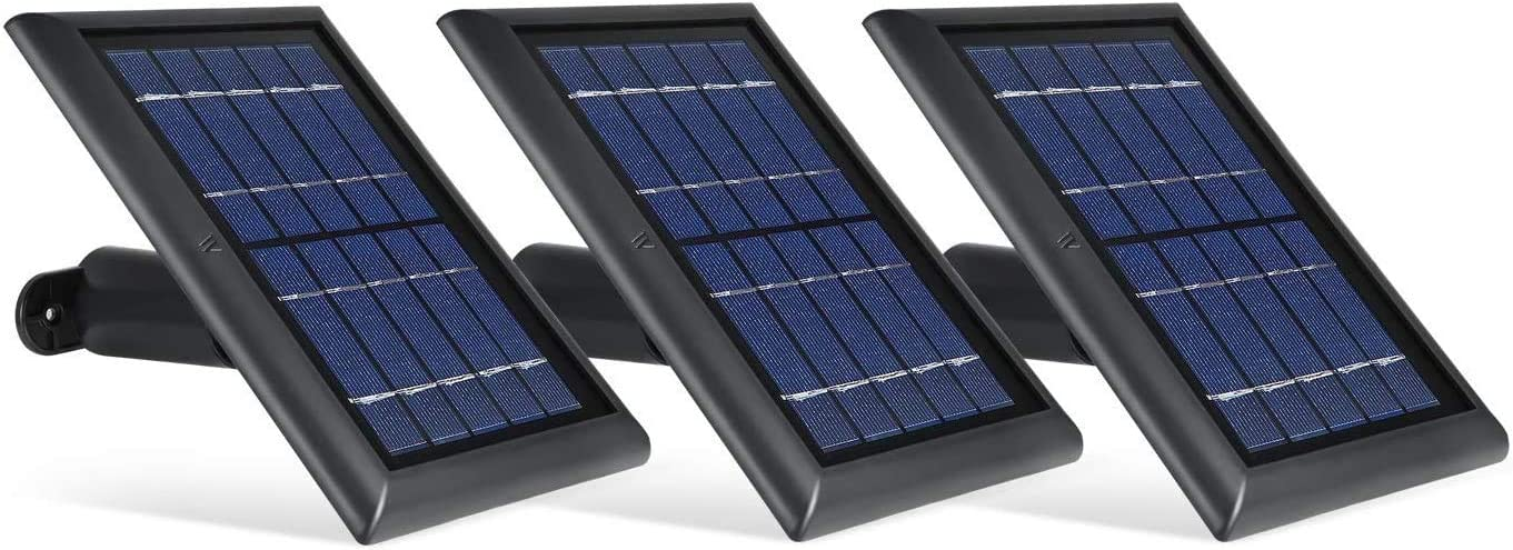 Wasserstein Solar Panel with 13.1ft/4m Cable Compatible with Eufy Cam 2C and 2C Pro - Power Your Surveillance Camera Continuously (3-Pack, Black) (NOT Compatible with Eufy Cam 2/2 Pro/E)
