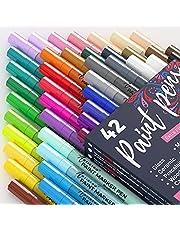 Acryl verf pennen - 42 acryl verf markers - Extra fijne tip verf pennen (0,7 mm) - Geweldig voor Rock Painting, Hout, Canvas, keramiek, stof, glas - 40 kleuren + Extra zwart-wit acryl markers