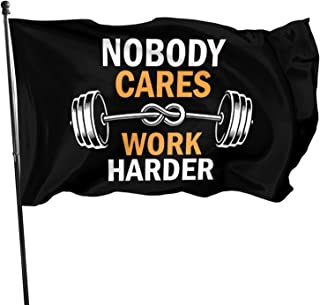 Juhucc American Flag 3x5 Ft Nobody Cares Work Harder Garden Flag Banner Decoration Outdoor Flag