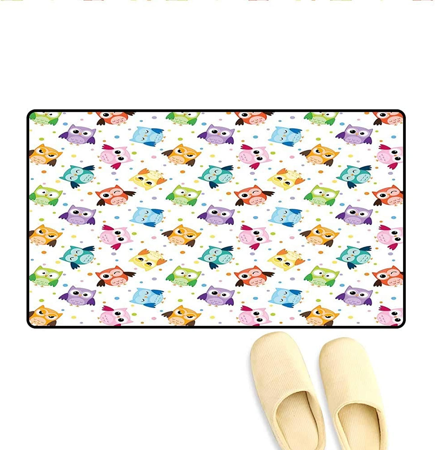 Door-mat Dotted Background colorful Owls Various Facial Expressions Angry Happy Confused Door Mats Inside Bathroom Mat Non Slip Multicolor 24 x36