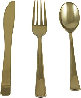 Houseables Gold Utensils Disposable Cutlery, Metallic Plasticware, 180 Pack, 60 Forks, 60 Spoons, 60 Knives, Fancy Colored Plastic Flatware, Elegant Silverware Set, Shiny Dinnerware, Banquet, Wedding